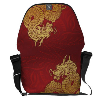 中国のなドラゴンの赤の金ゴールド メッセンジャーバッグ