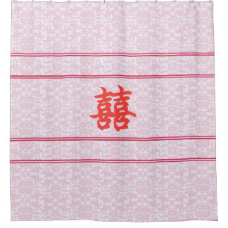 中国のなブロケードの倍の幸福のシャワー・カーテン シャワーカーテン