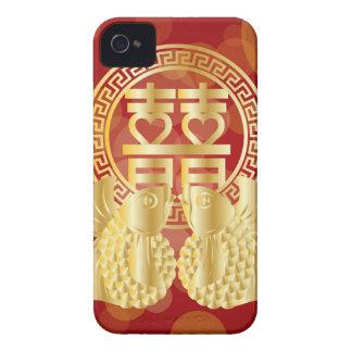 中国のな二重幸福のコイの魚の赤の背景 Case-Mate iPhone 4 ケース