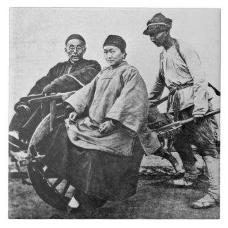 中国のな人力車、c.1870 (b/wの写真) タイル