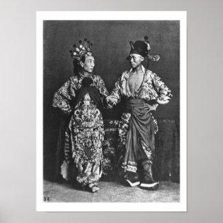 中国のな俳優、c.1870 (b/wの写真) ポスター