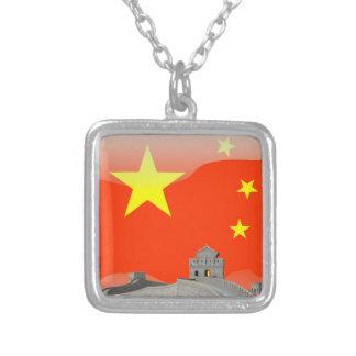 中国のな光沢のある旗 シルバープレートネックレス