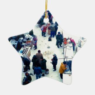 中国のな市場の冬 セラミックオーナメント