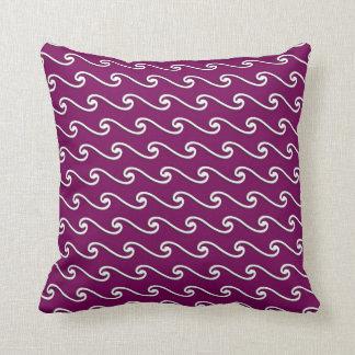 中国のな波パターン-ナスの紫色の白 クッション