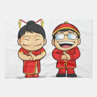 中国のな男の子及び女の子の漫画 キッチンタオル