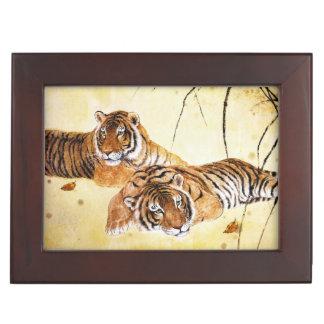 中国のな絵画を休ませている美しいトラの大きな猫 ジュエリーボックス