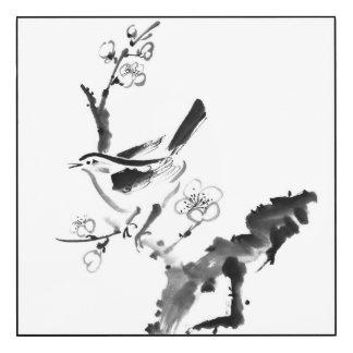 中国のな絵画、プラム花および鳥 ウッドウォールアート