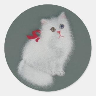 中国のな絹の白信号猫 ラウンドシール