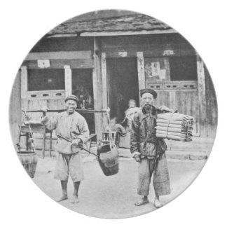 中国のな行商人、c.1870 (b/wの写真) プレート