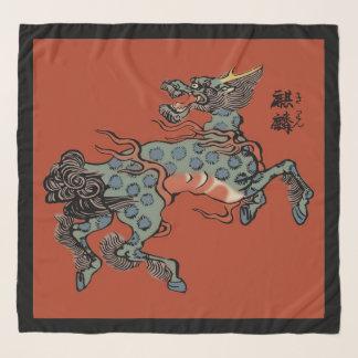 中国のな赤のヴィンテージの中国語Qilin スカーフ