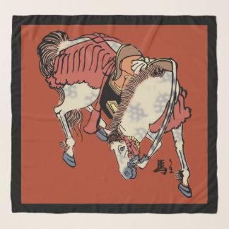 中国のな赤のヴィンテージの日本のな馬 スカーフ