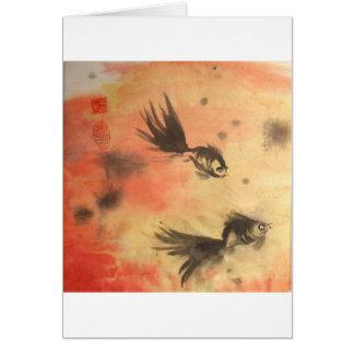 中国のな金魚の日没の白はカードを縁どります カード