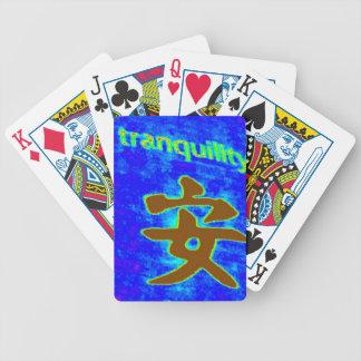 中国のな静けさの記号の青カード バイスクルトランプ