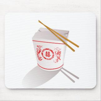 中国のな食糧は写実的な箱の箸を取ります マウスパッド