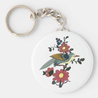 中国のな鳥および花 ベーシック丸型缶キーホルダー
