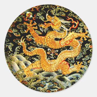 中国のな(占星術の)十二宮図のアンティークによって刺繍される金ドラゴン ラウンドシール