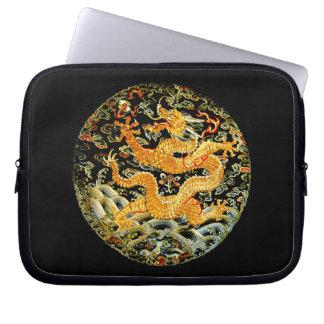 中国のな(占星術の)十二宮図のアンティークによって刺繍される金ドラゴン ラップトップスリーブ