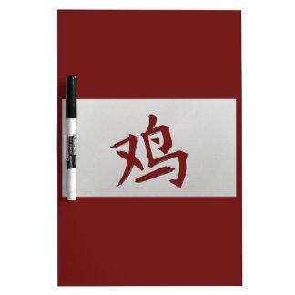 中国のな(占星術の)十二宮図の印のオンドリの赤 ホワイトボード