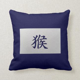 中国のな(占星術の)十二宮図の印猿の青 クッション