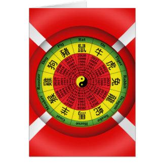 中国のな(占星術の)十二宮図の車輪の挨拶状 カード