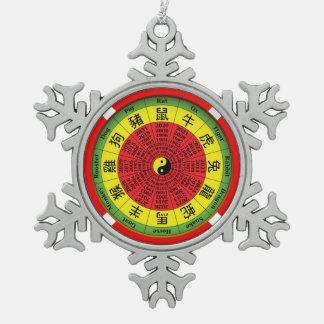 中国のな(占星術の)十二宮図の車輪の雪片のオーナメント スノーフレークピューターオーナメント