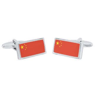 中国のカフスボタンの旗 シルバー カフスボタン