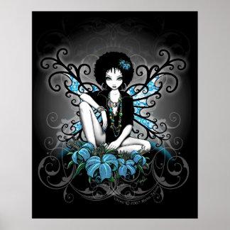 中国のレトロのティール(緑がかった色)のLillyのアフリカの妖精ポスター ポスター