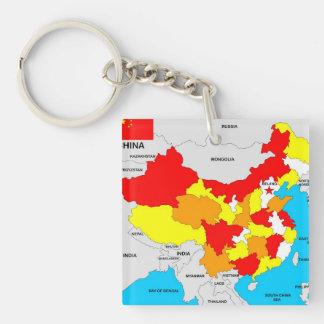 中国の国の政治地図の旗 キーホルダー
