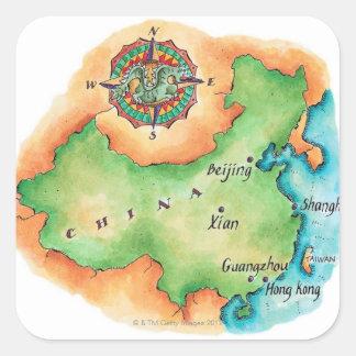 中国の地図 スクエアシール