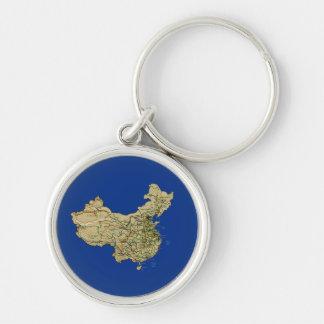 中国の地図Keychain シルバーカラー丸型キーホルダー