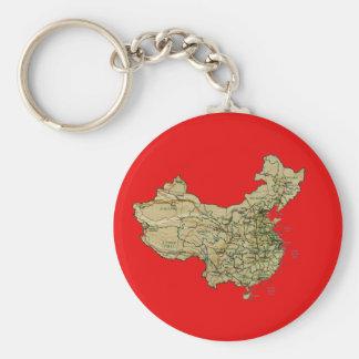 中国の地図Keychain ベーシック丸型缶キーホルダー