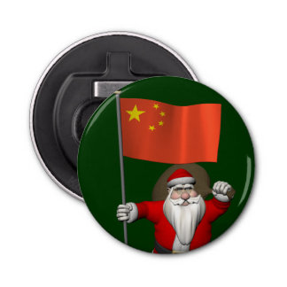 中国の旗を持つサンタクロース 栓抜き