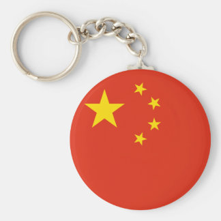 中国の旗 ベーシック丸型缶キーホルダー