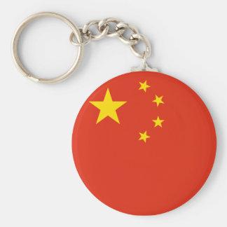 中国の旗Keychain ベーシック丸型缶キーホルダー
