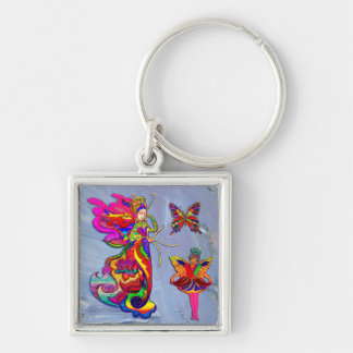 中国の蝶女性 シルバーカラー正方形キーホルダー
