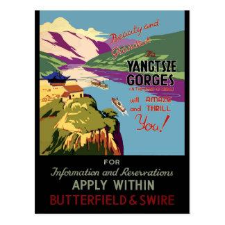 中国のYangtszeのヴィンテージ旅行ポスター ポストカード