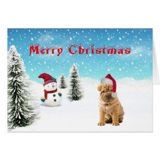 中国人のShar-peiのクリスマスカード カード