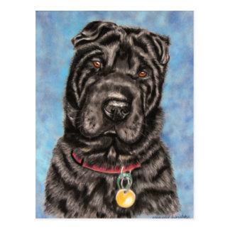 中国人のShar-Pei犬の芸術- Tia ポストカード