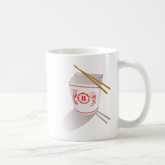 中国語は箸が付いている食糧箱を取ります コーヒーマグカップ