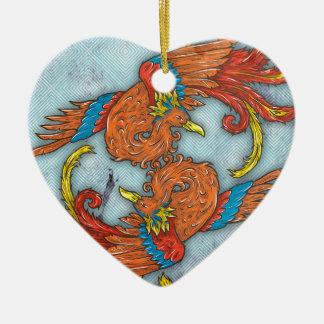 中国語フェニックス 陶器製ハート型オーナメント