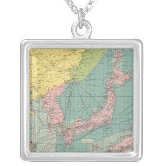 中国語、日本のな港 シルバープレートネックレス