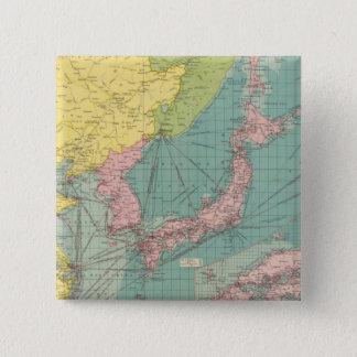 中国語、日本のな港 5.1CM 正方形バッジ