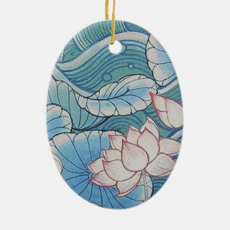 中国趣味のパステル調の東洋のピンク及び青い花柄 セラミックオーナメント