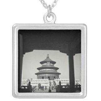 中国、北京のChongwen地区。 2の寺院 シルバープレートネックレス