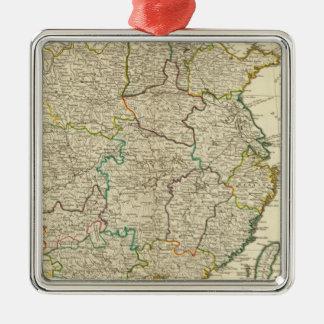 中国、韓国の地図書の地図 メタルオーナメント