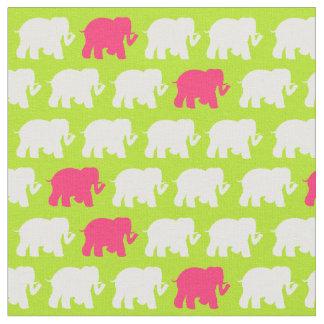 中型のライムグリーン象の生地 ファブリック