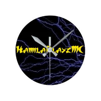 中型の円形のHamilaPlayzMCの柱時計 ラウンド壁時計