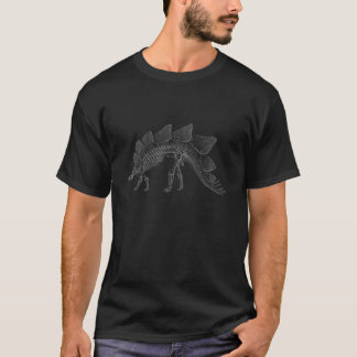 中型の灰色のステゴサウルスの恐竜の骨組 Tシャツ