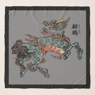 中型の灰色のヴィンテージの中国語Qilin スカーフ