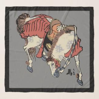中型の灰色のヴィンテージの日本のな馬 スカーフ